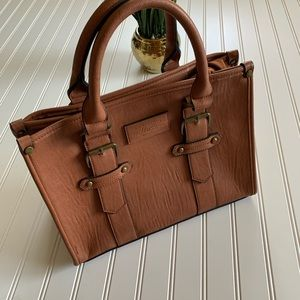 G.H. Bass & Co. Brown Leather Buckle Detail Tote